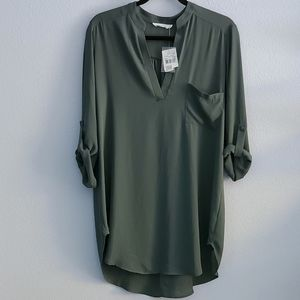 Lush • Olive Green Perfect Roll Tab Sleeve Tunic